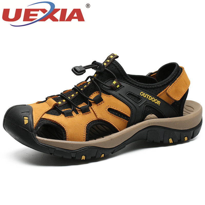Sandalias de hombre de cuero UEXIA, nuevos zapatos de verano para hombre, sandalias de playa para marca de moda para hombre, zapatos casuales de caminata al aire libre, zapatos planos antideslizantes