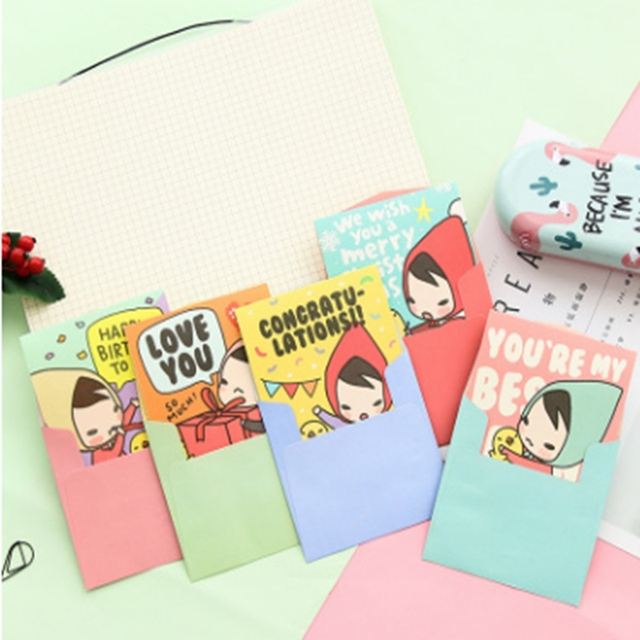 Miniature Cartoon Small Card Greeting Card Creative Girl Blessing