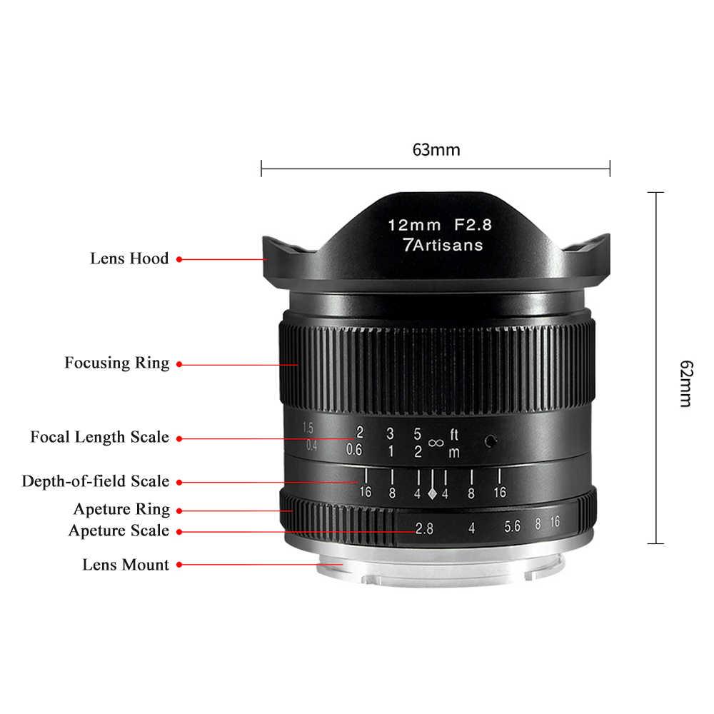 7 artesãos 12mm f/2.8 lente principal de ângulo ultra largo foco manual grande abertura para montagem eletrônica fx-montagem M43-Mount eos m-montagem opcional