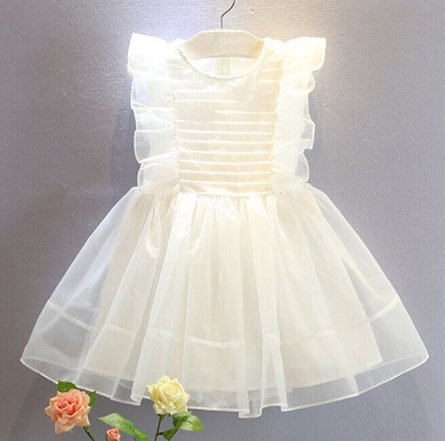 2017 Summer Style Girls Kids Fashion Lace Knee High Ball Gown Sleeveless Dress Baby Children Clothes Infant Party Dresses2-9 yrs ems dhl free 2017 new lace tulle baby girls kids sleeveless party dress holiday children summer style baby dress valentine
