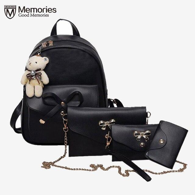 Backpacks Women Purse female Shoulder School Bag Travel Teenage Girls  Leather Escolar Feminina Mochila 4 Pcs Sets 2018 Gifts 99d3a5a261d5