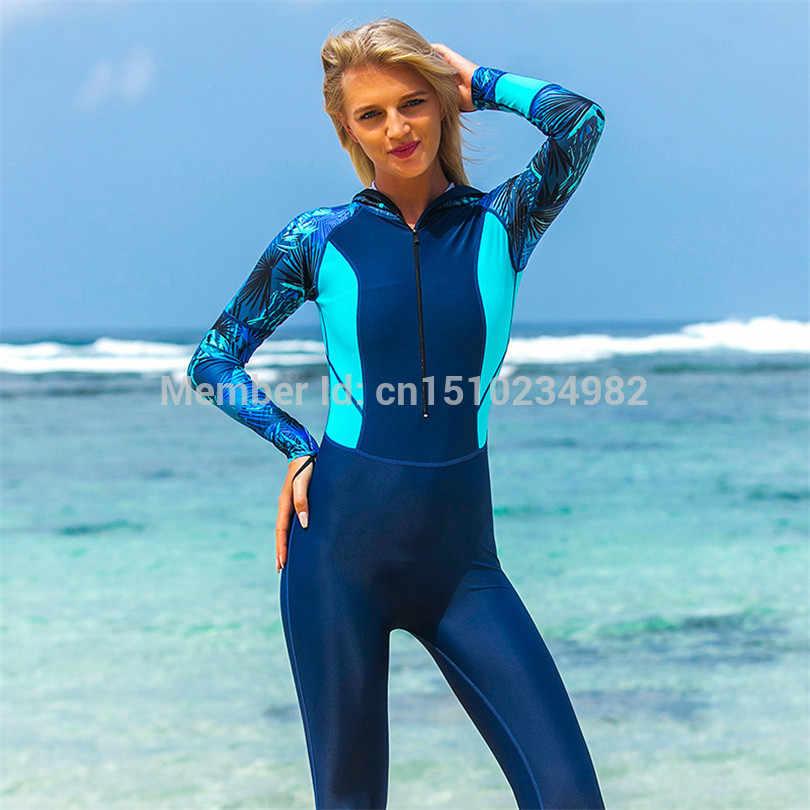 SBART Professionele Lange Mouwen Wetsuit met Hoodies Vrouwen Rits Full Body Wetsuits Badpak Snorkelen Jumpsuits Duikpak