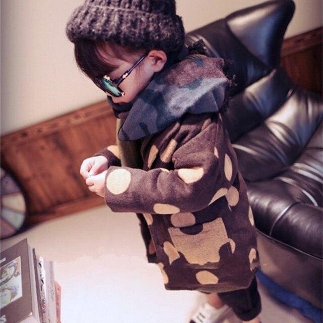 Корейский Унисекс Девочки Мальчики Горошек С Длинным Рукавом Сгущает Пальто Малышей Дети Дети Теплый Парки Куртки Одежда 1-6 Т