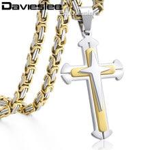 9ea5c3e50691 Cruz colgante collares para hombres de acero inoxidable de 3 capas  Caballero de la cruz para hombre Collar de plata de cadena de.
