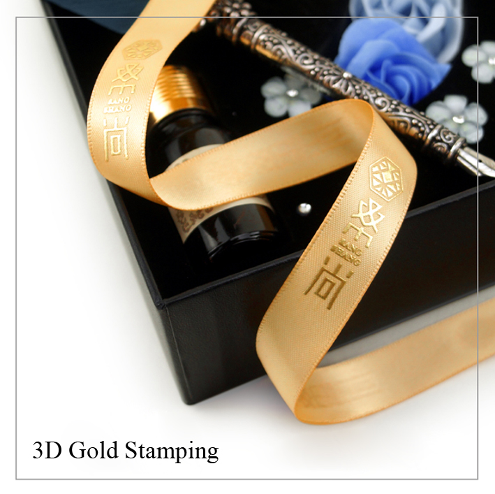 High Quality Customized Ribbons 10mm-75mm 100yards For Wedding, Party & Brand Ribbon 3D Gold Stamping Hot Stamping