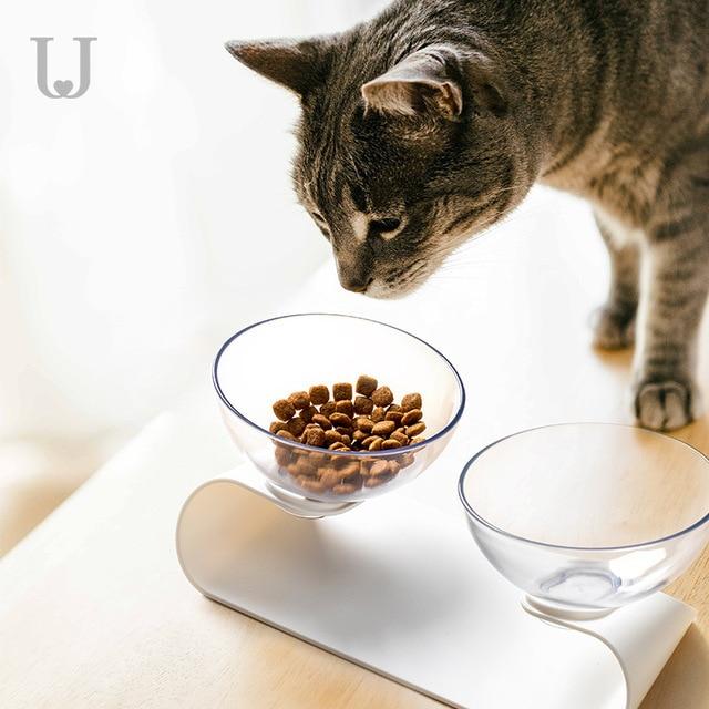 Youpin JORDAN & JUDY สัตว์เลี้ยงคู่ชามแมวสุนัข Universal Slanting ชามคู่ขนาดเล็กสุนัขให้อาหารชาม
