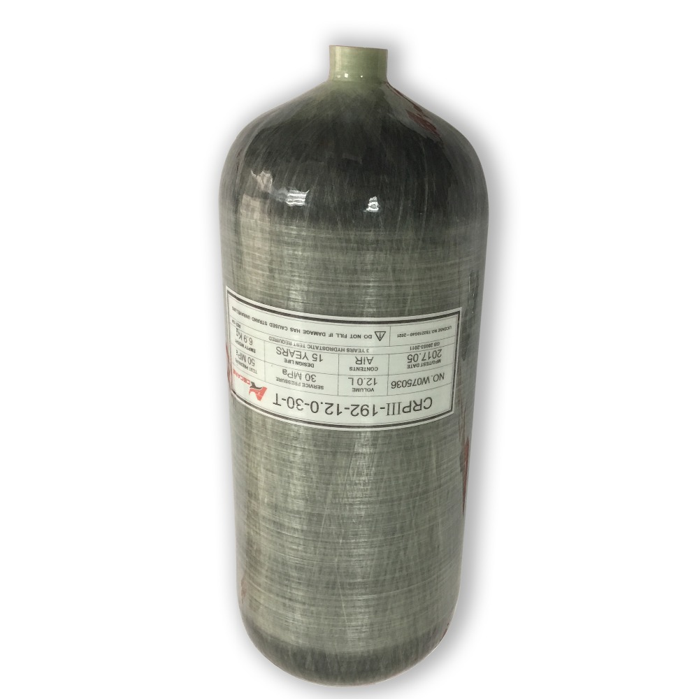 AC3120 12L Compressed Air Rifle Carbon Fiber Tank 300Bar 30Mpa 4500psi Carbon Air  Tank For Small Paintball Tank Refilling-R