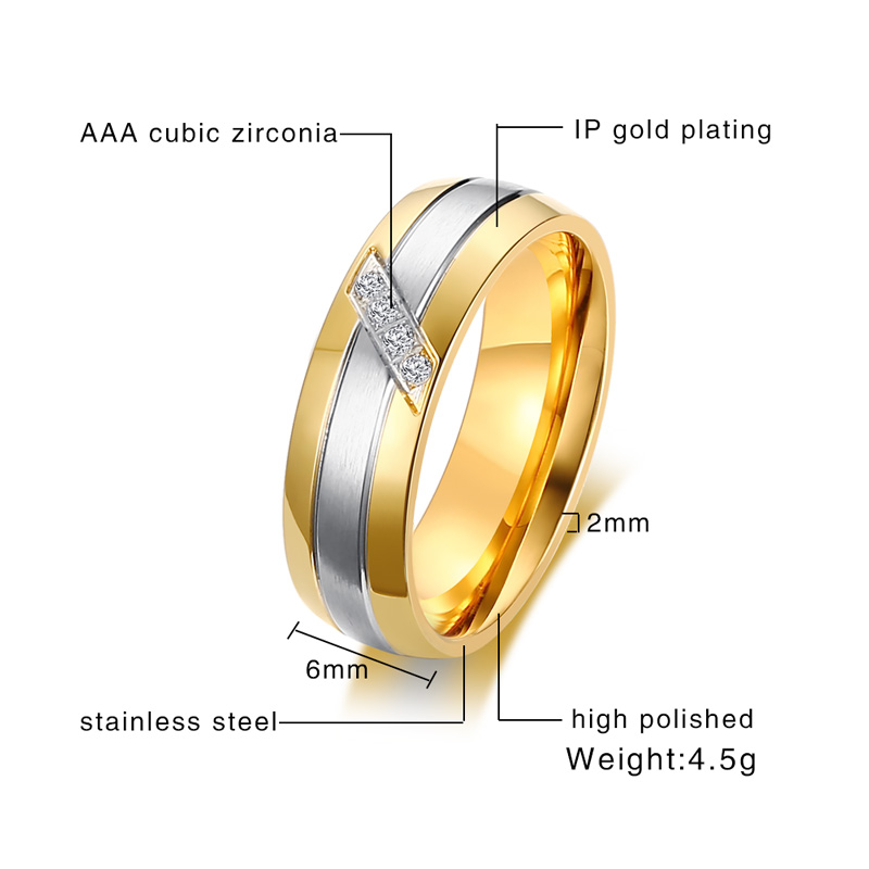 Meaeguet Classic 2-Row Stainless Steel CZ Engagement Rings For Women Wedding Bands Accessories USA Size 5-13
