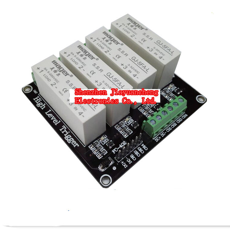 4 Channel 5A high Level Trigger Solid State Relay Module Board 3-32V power supply and trigger voltage 4 channel 5a high level trigger solid state relay module board 3 32v power supply and trigger voltage