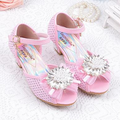 2017 Children Princess Sandals Kids Girls Wedding Shoes High Heels Dress  Shoes Bowtie Party Shoes For Girls Blue Pink Dropship d 3bf9451608c4