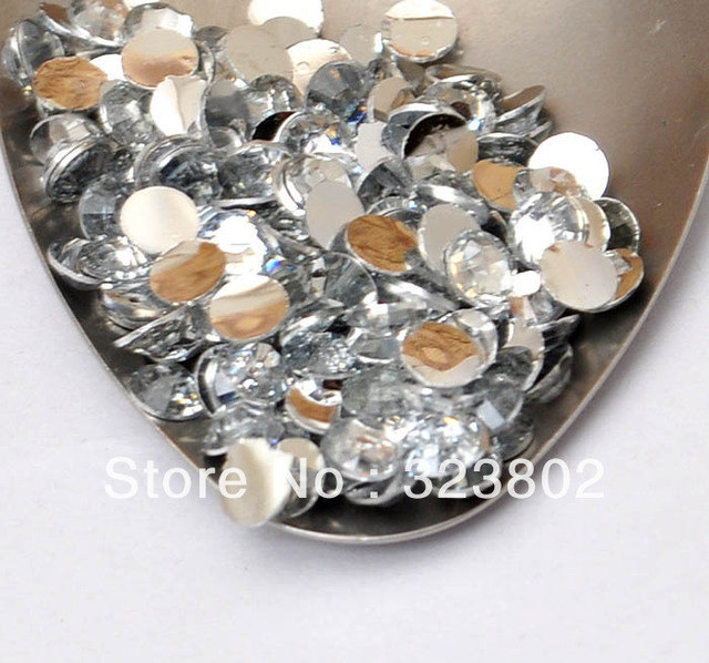 5MM Silver Plated Flatback Clear White Acrylic Rhinestone Button Supply for Nail Art Garment Bags Shoes Decoration-10000PCS