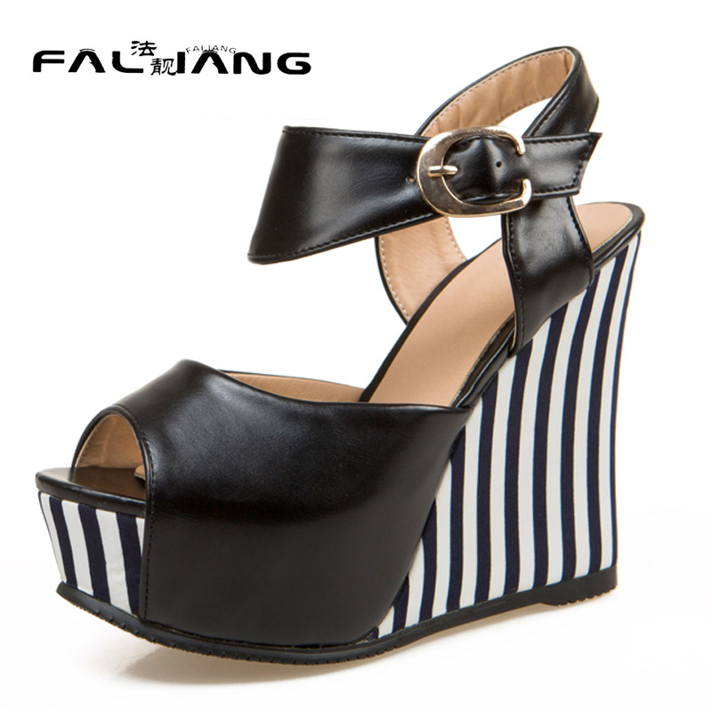 ФОТО New arrival summer plus size 11 12 13 14 Fashion Sexy Peep Toe womens shoes Rough with Gingham Summer Super High heel sandals