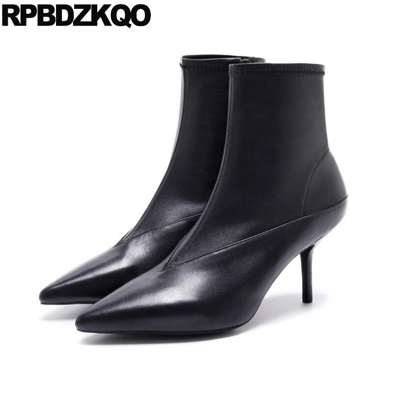 Genuine Leather Pointed Toe High Heel Autumn Short Stiletto Fur Black Ankle Booties Fashion Fall Slip On Elastic Brand Women