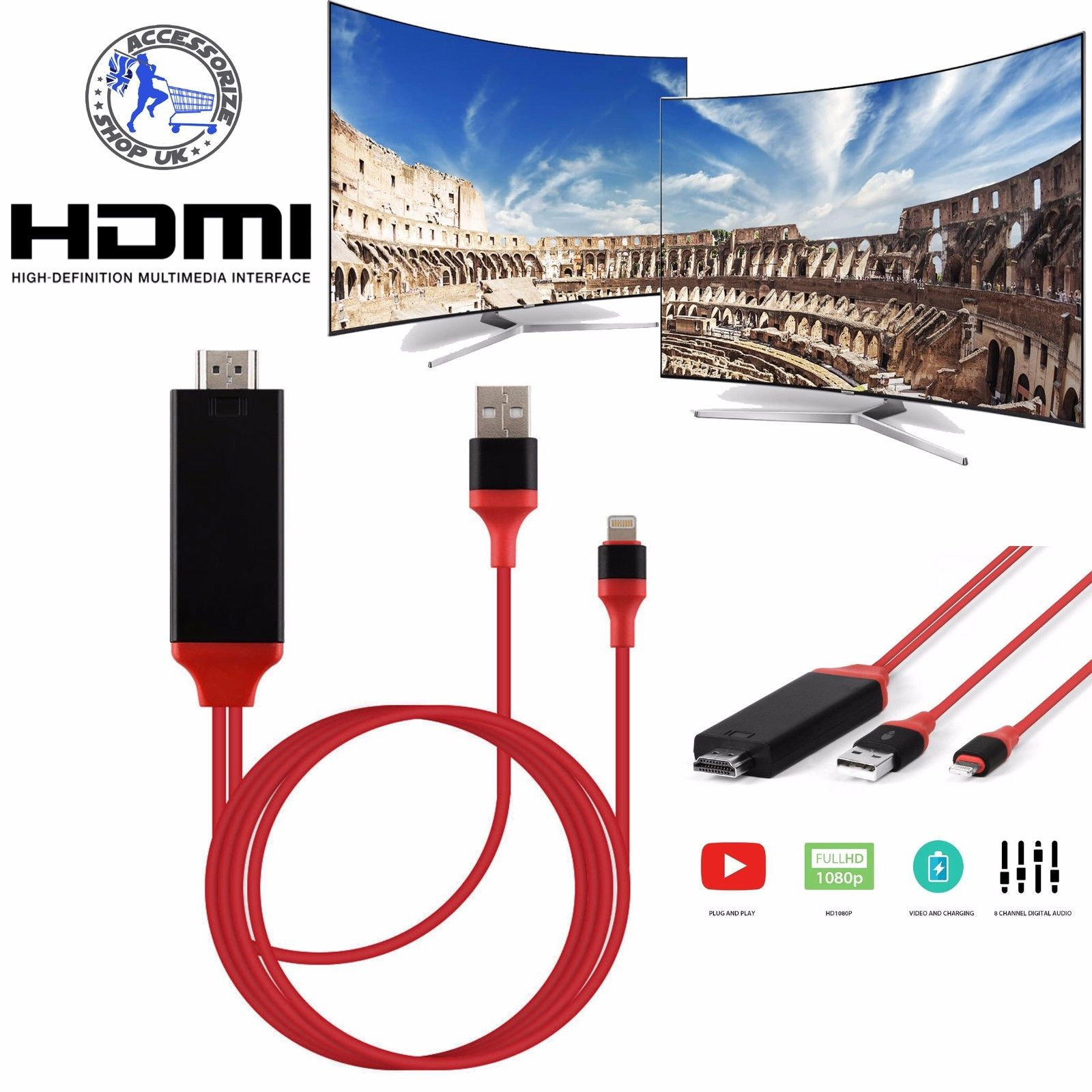 USB to HDMI TV Adapter Mirror HD 1080 OTG MHL Charger Cable For Android  Samsung