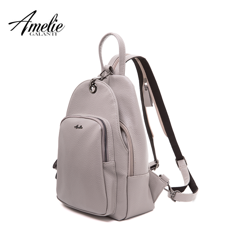 AMELIE GALANTI small fashion backpack purse for women faux gray black shoulder Bag lady backpack amelie galanti shoulder crossbody bags for women saddle purse embroidered bag with rivet long straps