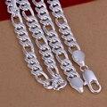 2017 Nuevo de Calidad Superior Plateado y Estampadas 925 declaración cadena de plata de la manera nuevo 10mm plana de lado grueso collar de los hombres CN013