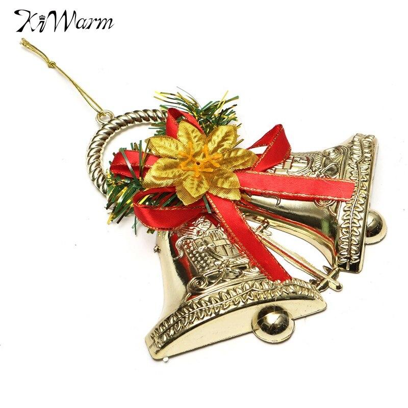 Kiwarm christmas bowknot double bell ornament pendant tree for Home decor ornaments