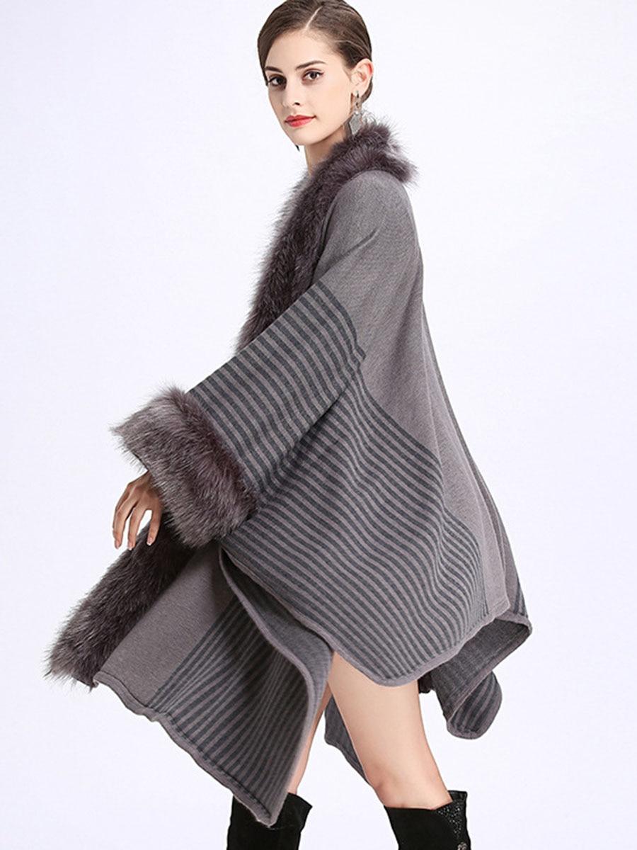 Femmes Pardessus Fourrure Châle khakki Tricot Longue En Black Bonne Robe Poncho Partie Fausse Manteau Renard Noble Cape grey De Luxe Mode Revers Hiver vr5ABqvwEx