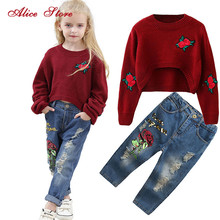 Girls Suit Jeans Sweater Flower-Pants Kids Clothes Long-Sleeves Fashion Rose Alice Sequin