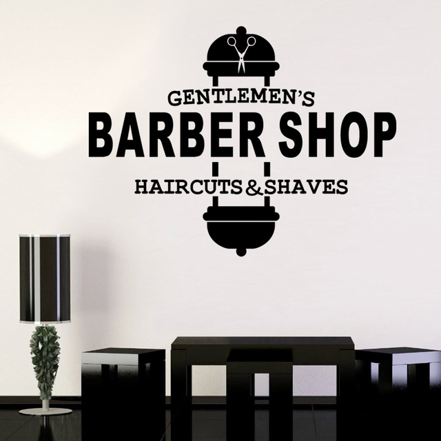 Dctal barber shop sticker gentlemen chop bread decal haircut shavers posters vinyl wall art decals decor