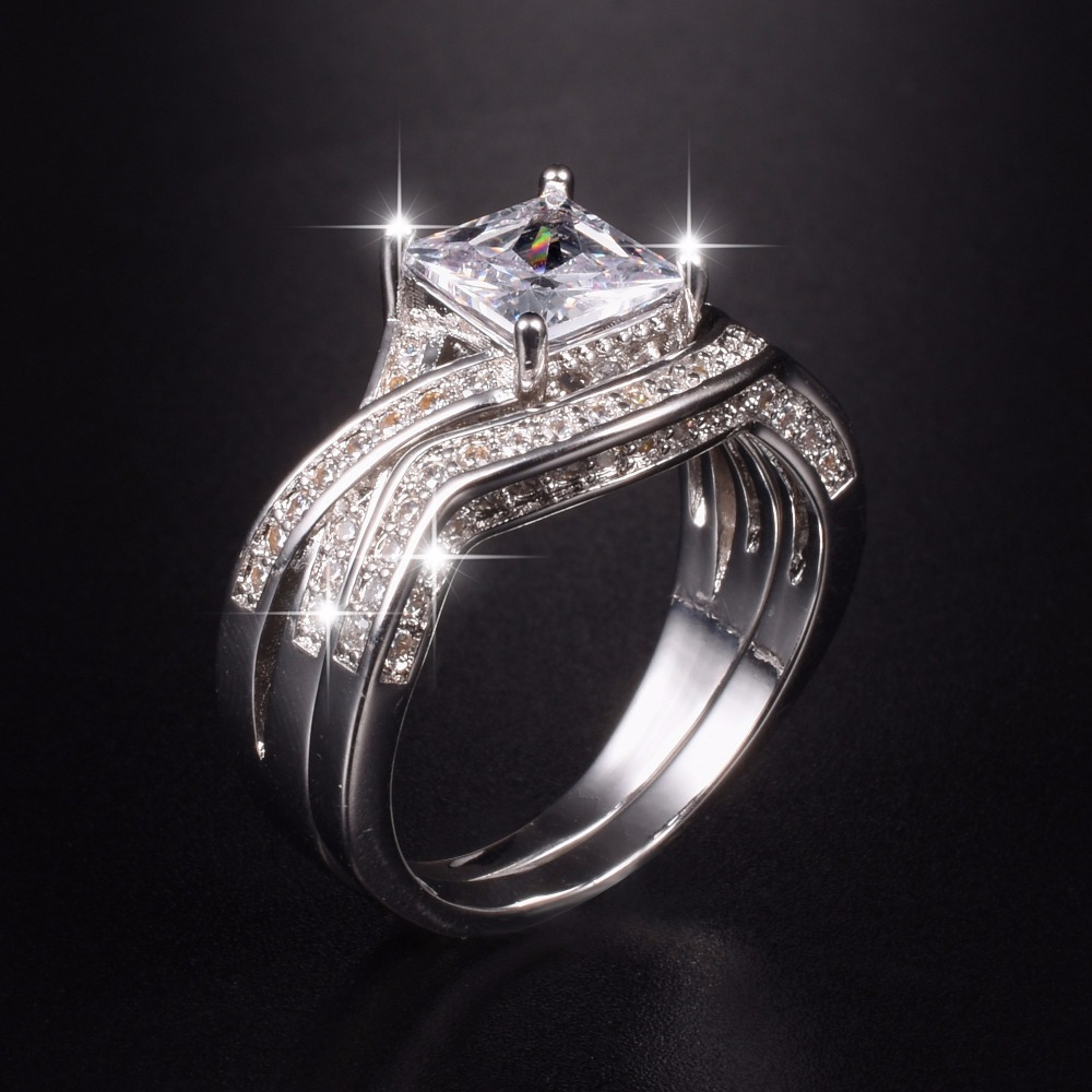 Vintage Stamp 10KT gold Plated Square Shape Princess Cut Simulated Diamond for Women CZ Stone Wedding Cocktail Ring Set SZ 5-10