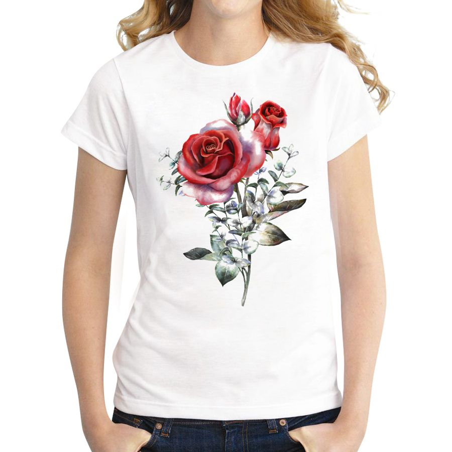 Fashion Design Romantic Rose Flower T Shirt Women Short Sleeve Customized Tops Famale Novelty Tee