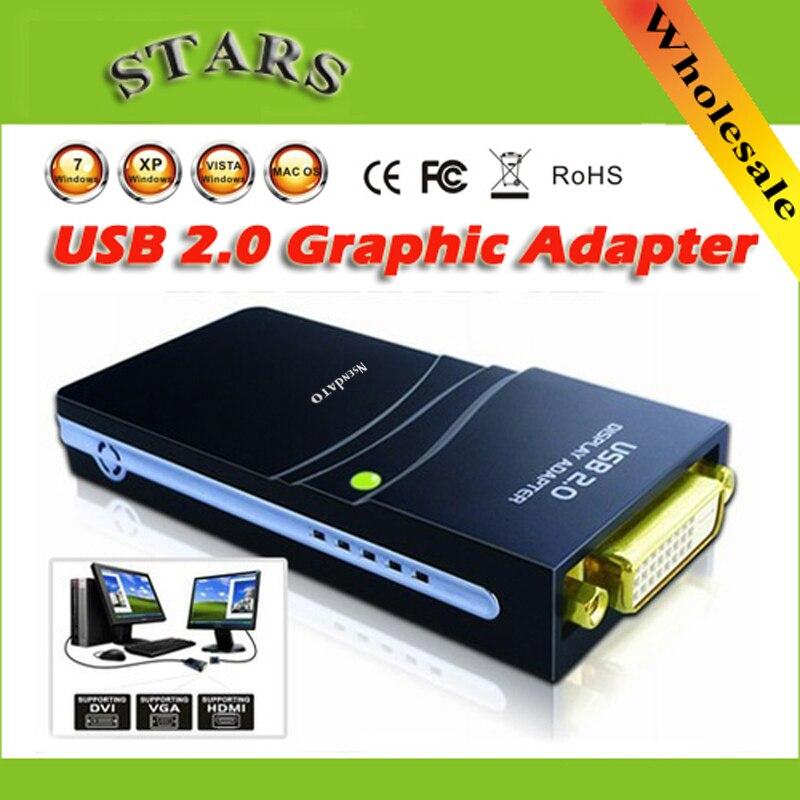 En gros Libre/expédition de Baisse USB 2.0 vers DVI/HDMI/VGA (2048x1152) 17D1 Graphique Multi-Affichage Adaptateur Convertisseur Externe Carte Vidéo
