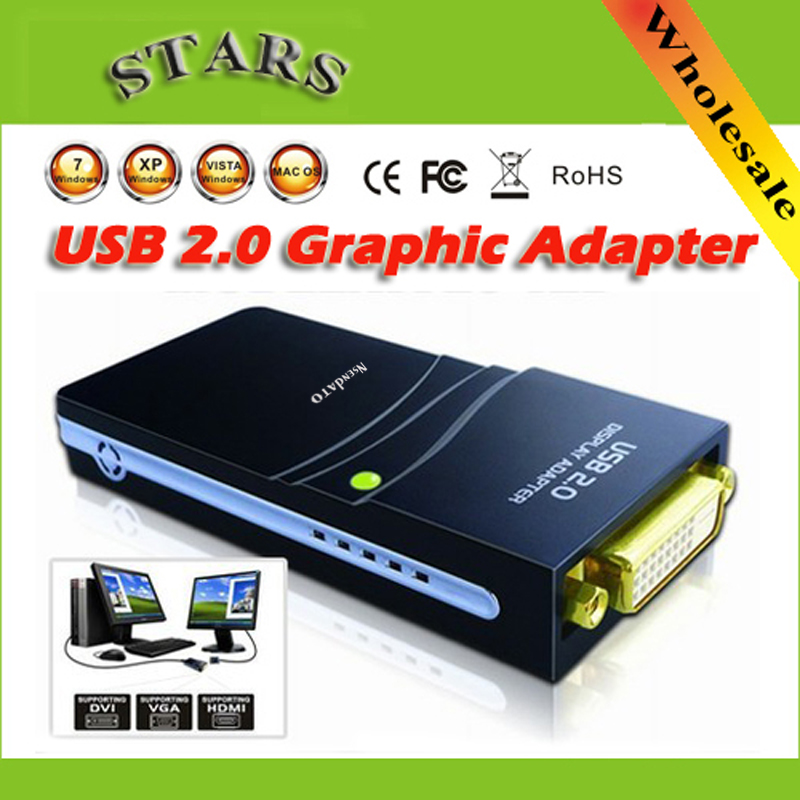 Wholesale Free/Drop shipping USB 2.0 to DVI/HDMI/VGA(2048x1152)17D1 Graphics Multi-Display Adapter Converter External Video Card full 1080p hdmi 4x1 multi viewer with hdmi switcher perfect quad screen real time drop shipping 1108