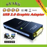 Wholesale Free/Drop shipping USB 2.0 to DVI/HDMI/VGA(2048x1152)17D1 Graphics Multi Display Adapter Converter External Video Card