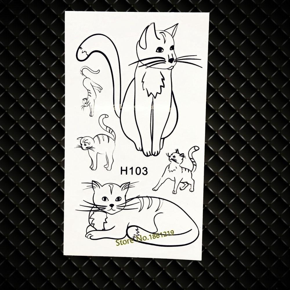 ᗚLindo gato negro tatuaje temporal para niños Juguetes mujeres ...