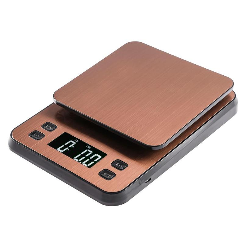 Golden stainless steel Portable Digital Kitchen Scale 10kg Food weight measuring Electronic Scale with USB power supply.