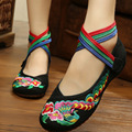 Colorful Peacock Embroidered Flats Cow Muscle Sole National Style Chinese Style Soft Sole Red Flat Shoes Women SMYXHX-10081