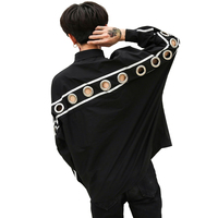 Male High Street Fashion Hip Hop Punk Loose Casual Dress Shirt Man Rivet Iron Ring Hollow