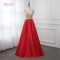 YQLNNE New 2018 Red Crystals Prom Dresses Long Satin Dress Vestido de Festa V Back