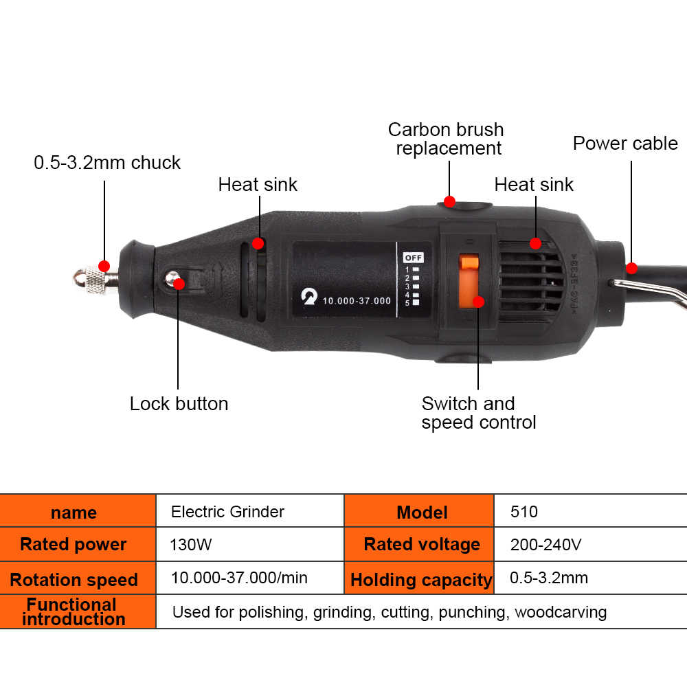 HGhomeart 180W Multitool Woodworking Polishing Electric Tool 220V Machine Polishing Making Tool Cutting and Drilling Tool Sets
