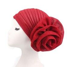 Fashion Women Flower Stretch India Muslim Wrap Head Scarf Cap Ruffle Cover Hat hot ruffle trim wrap pants