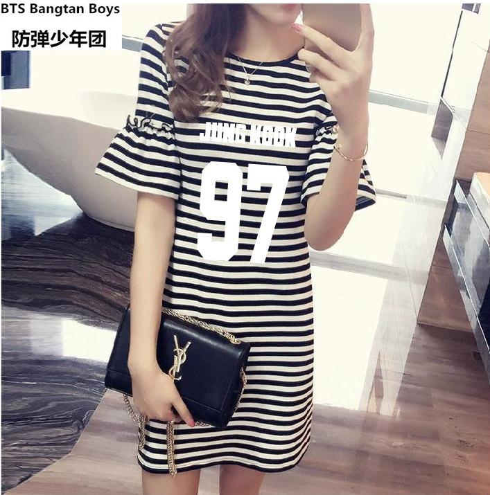 Women's Clothing Reasonable 2018 New Kpop Bts Bangtan Boys Spring And Summer Korean Loose V-neck Casual T-shirt Dress In The Long Paragraph Student K-pop