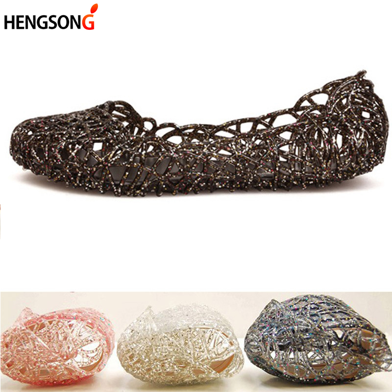 2017 Women Sandals Summer Casual Jelly Shoes Sandals Hollow Out Mesh Flats Lady Girl Breathable Sandals 23-25cm OR864521 boys girls antislip usb sandals summer cut out comfortable flats beach sandals kids children breathable led shoes with light