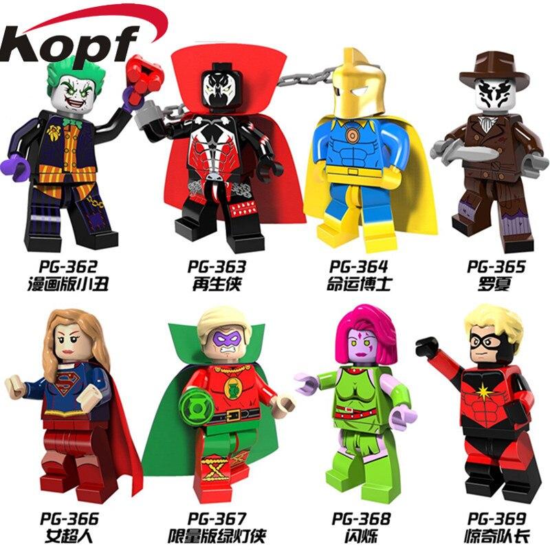 PG8085 Super Heroes Blink Mar-Vell Comic Spawn Joker Rorschach Green Lantern Building Blocks Bricks Action Children Gift Toys