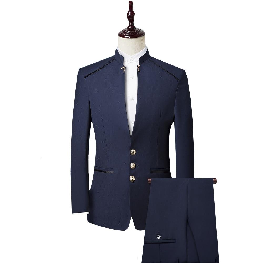 2019 New Single Breasted Men Suits Set Chinese bridegroom Tuxedos Mandarin Collar Male Slim Wedding Suit (Jacket+Pant+Vest)