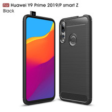 TOHONCASE For Huawei Y9 Prime 2019 / P Smart Z Carbon Fiber Soft TPU Silicone Brushed Anti-knock Back Cover