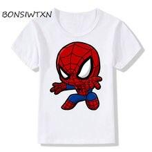 d48374765 BONSIWTXN Children Deadpool Spiderman Superhero Print T-Shirts Kids Summer  Tops Girls Boys Short Sleeve T shirt Baby Clothes