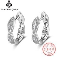 Classic Real 925 Sterling Silver Hoop Earrings Cubic Zirconi