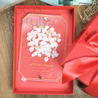 Acrílico flores eternas invitación de la boda invitación europea poco fresco invitación personalización