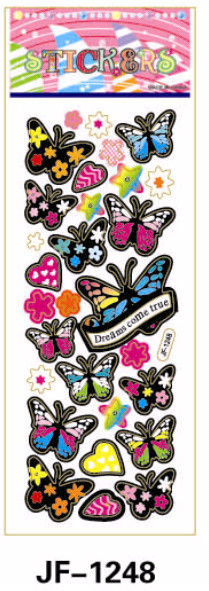 20 Sheets Combo Deal,  Free shipping  TY0032 Butterfly Stickers, Rainbow Assorted Butterflies Vinyl Stickers  Wholesale