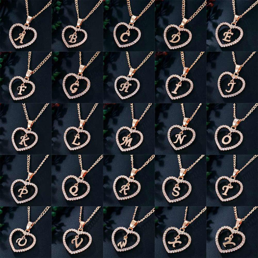 """رومانسية قلادة بحلية متدلية بكلمة """"love"""" حجر الراين الأولي رسالة قلادة للفتيات 2019 النساء الأبجدية الذهب الياقات العصرية الجديدة Charms"""