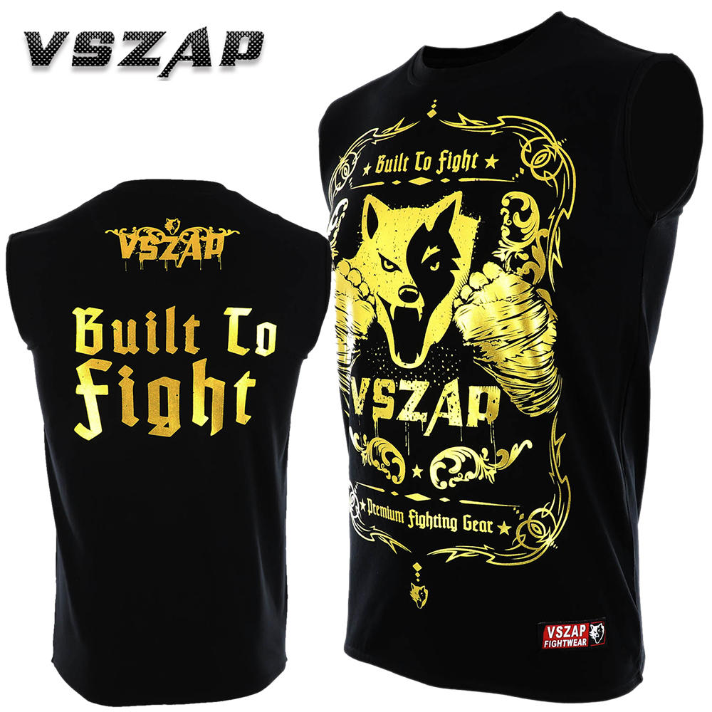 VSZAP Sleeveless Boxing Jerseys Fight MMA Gold T-Shirt Gym Shorts Boxing Fitness Sport Muay Thai Cotton  T Shirt Men Kick Boxing