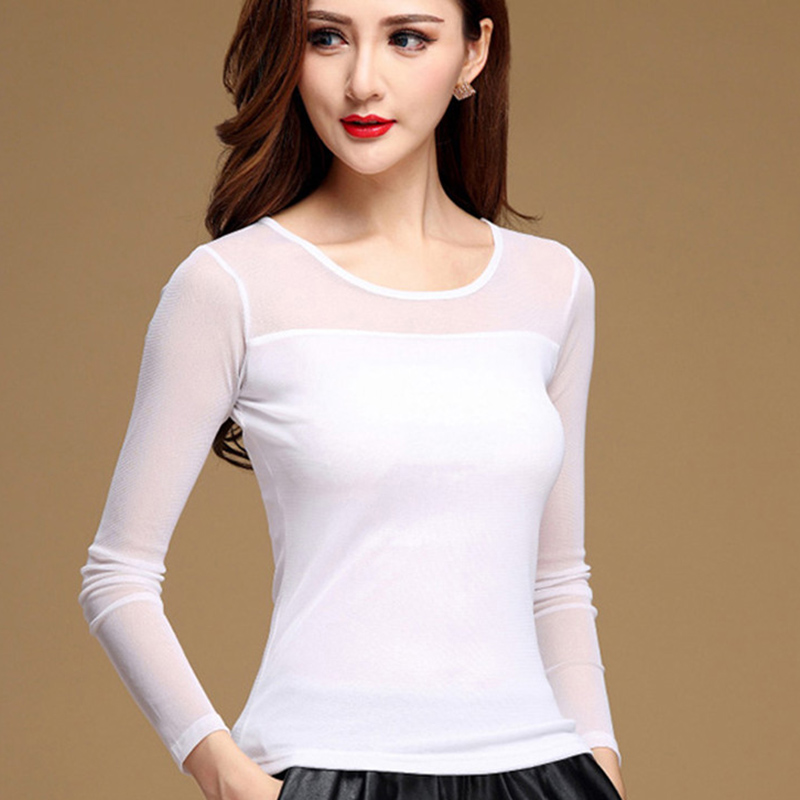 Women Mesh Tops Spring Autumn Sexy Fashion Casual Stretch Long Sleeve   Blouse     Shirt   Elegant Top For Women Blusas New Arrivals