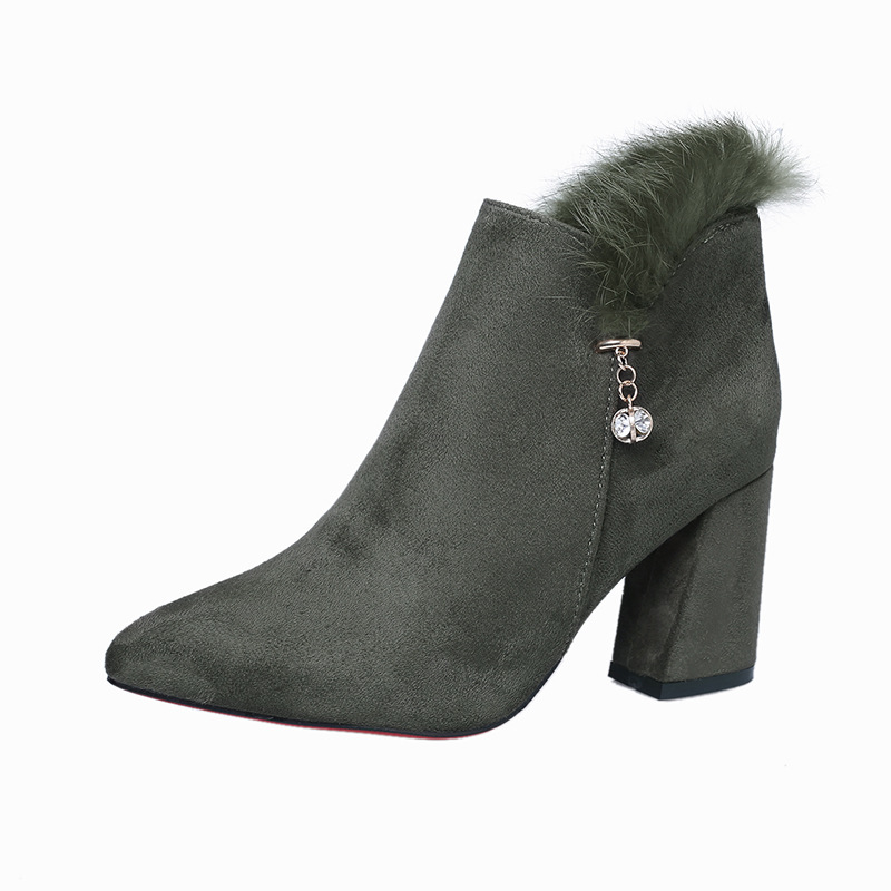 19 autumn and winter new thick with fashion wild high-heeled suede foreign trade womens booties green 021619 autumn and winter new thick with fashion wild high-heeled suede foreign trade womens booties green 0216