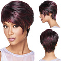 30cm New Fashion Bob Ladies Synthetic Wigs For Women Tilted Frisette Short Hair Wigs Wine Red HB88